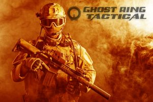 35097702 - special forces soldier with rifle in the fire