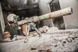 46190417 - navy seal sniper with rifle in action